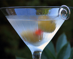 A classic martini of gin, vermouth, and olives is a thing of beauty.