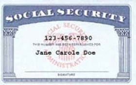 A sample Social Security card. Don't give your number out if you don't have to.